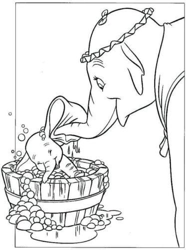 Mrs Jumbo Bathing Dumbo Coloring Page