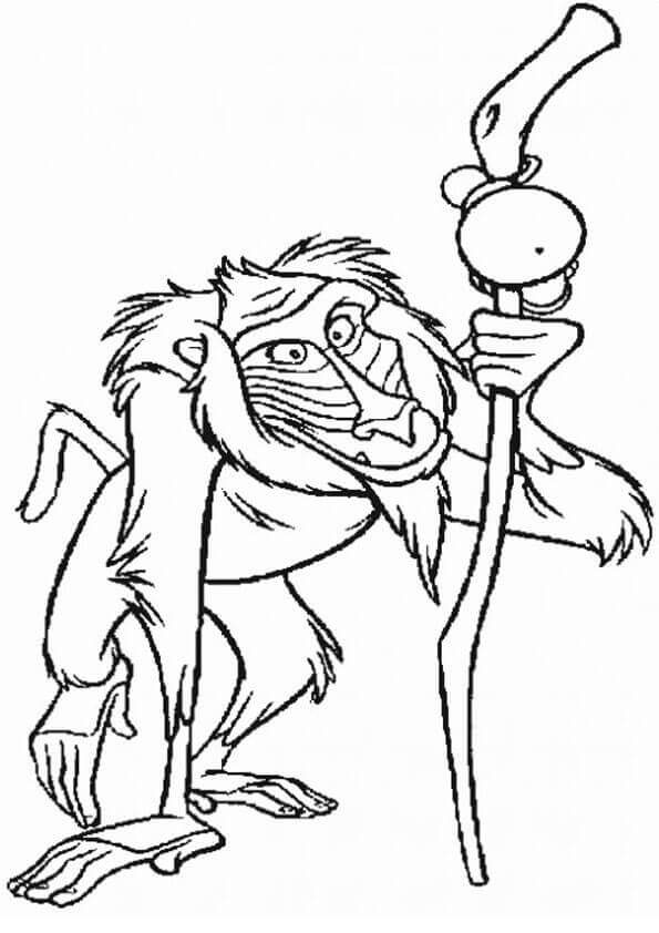 Rafiki From The Lion King Coloring Sheet
