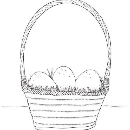 Realistic Easter Basket Coloring Page