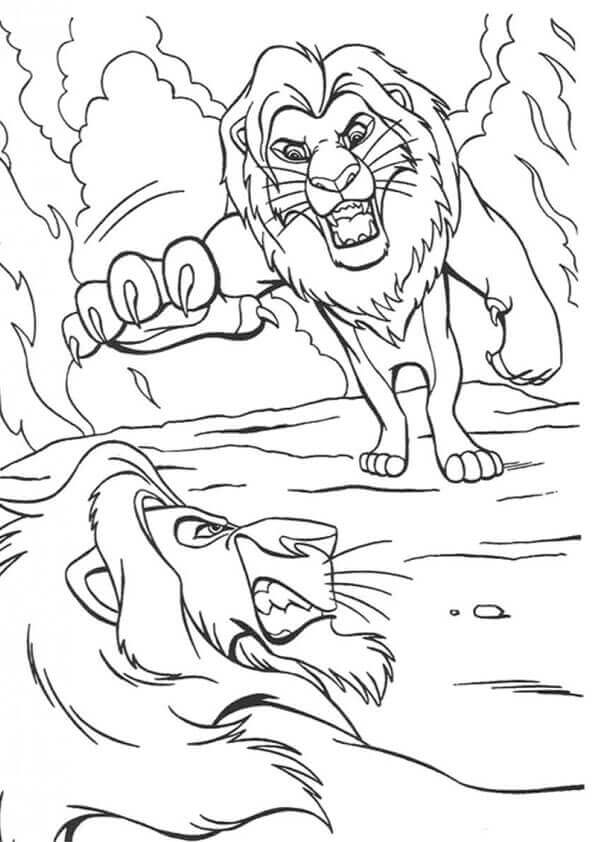Simba And Scar Coloring Page