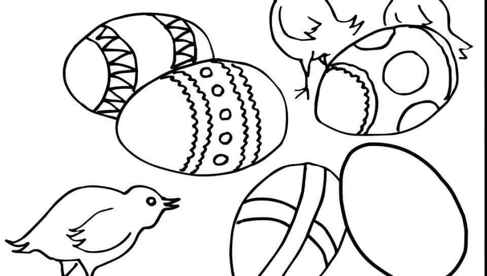 Simple Easter Chicks Coloring Sheet