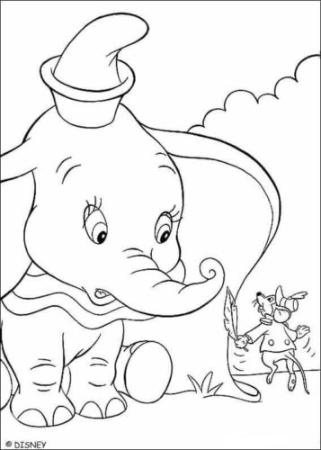 Timothy Teaching Dumbo How To Fly Coloring Page