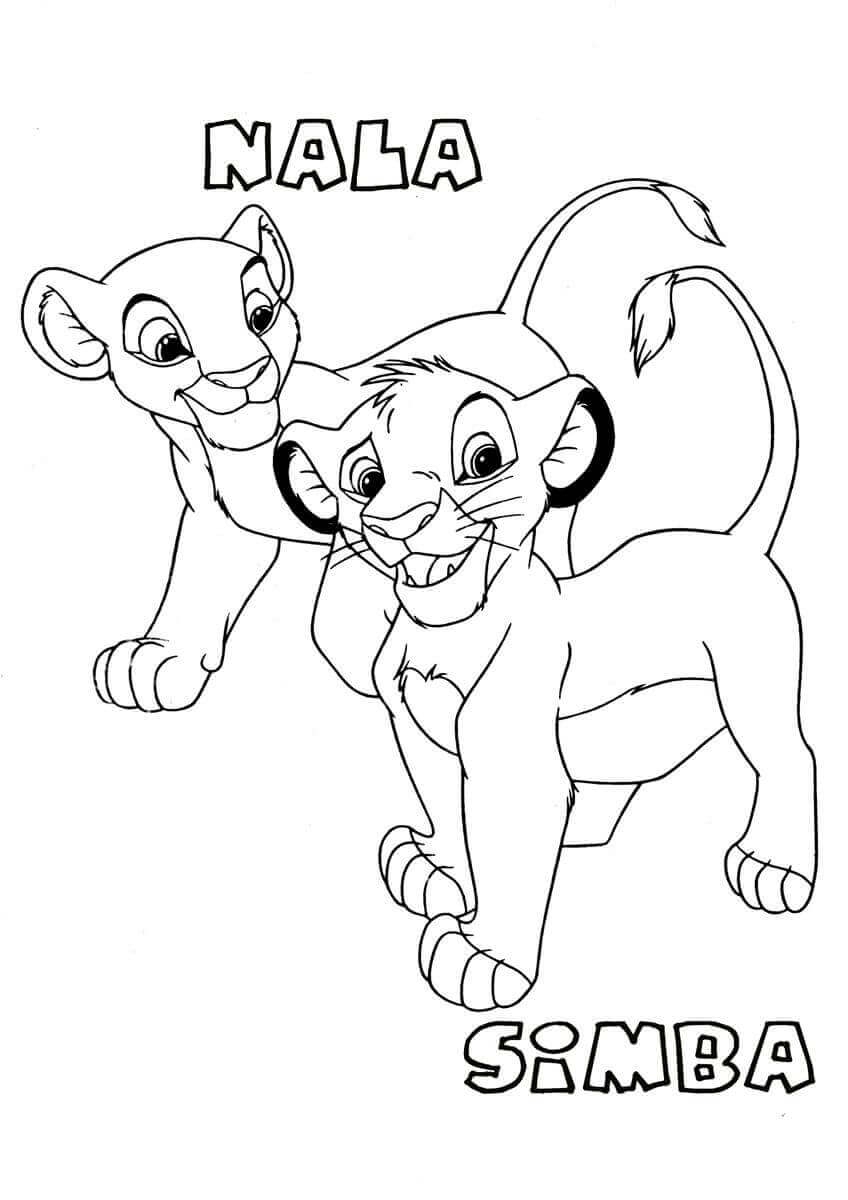 Young Nala And Simba Coloring Page