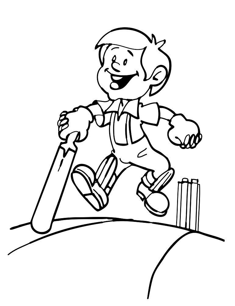 A Happy Cricket Batsman Coloring Page