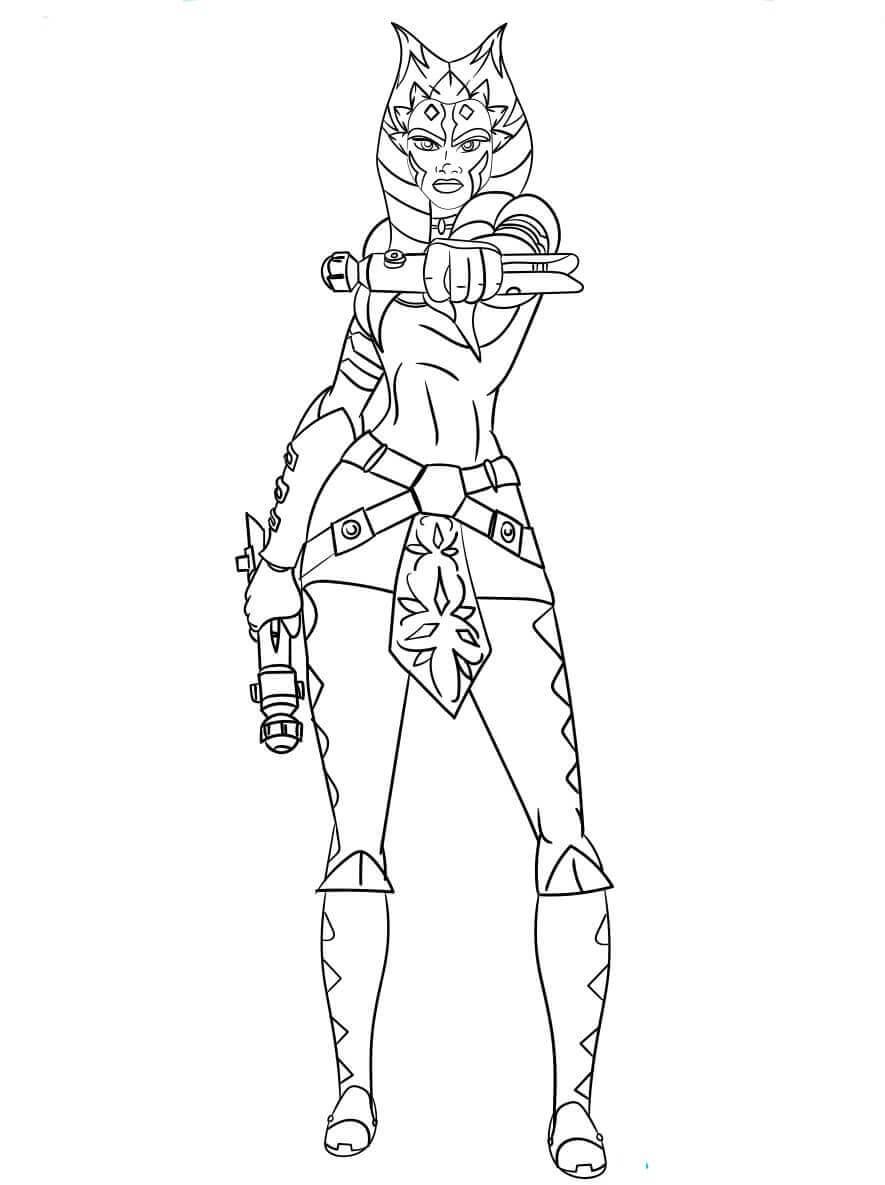 Ahsoka Tano from Star Wars coloring page