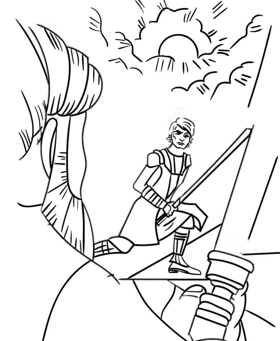 Anakin and Obi Wan Kenobi Duel coloring page