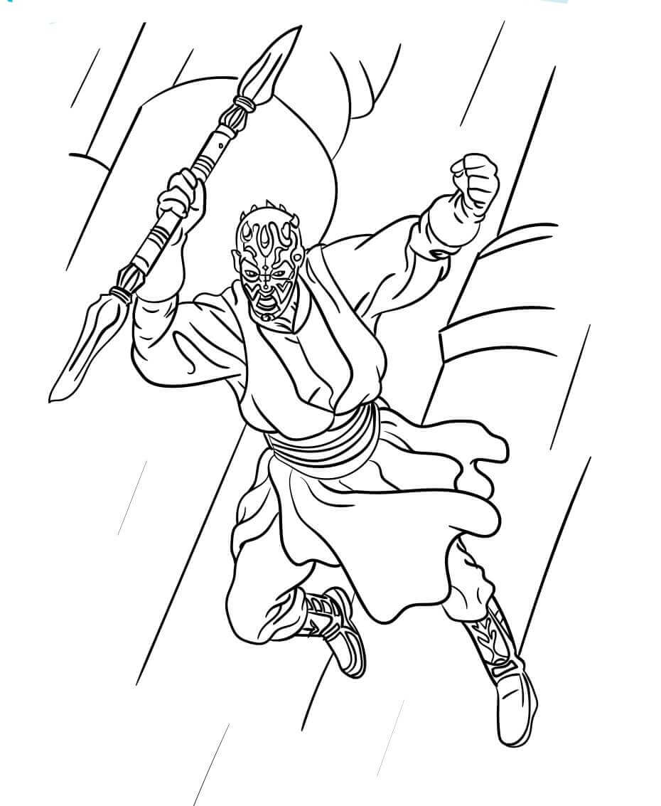 Darth Maul from Star Wars coloring sheet