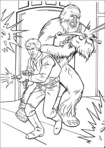 Han Solo and Chewbacca coloring page