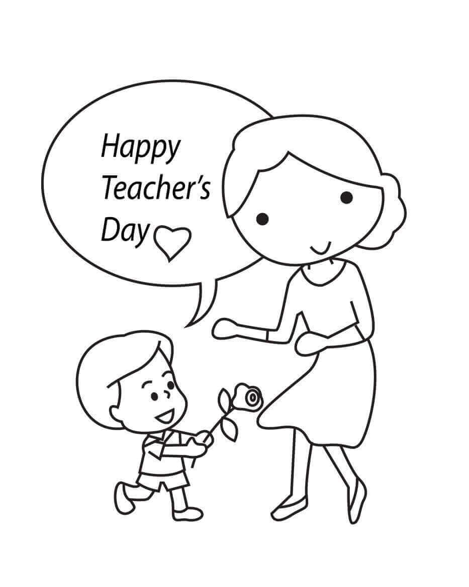 Happy Teachers Day Coloring Page