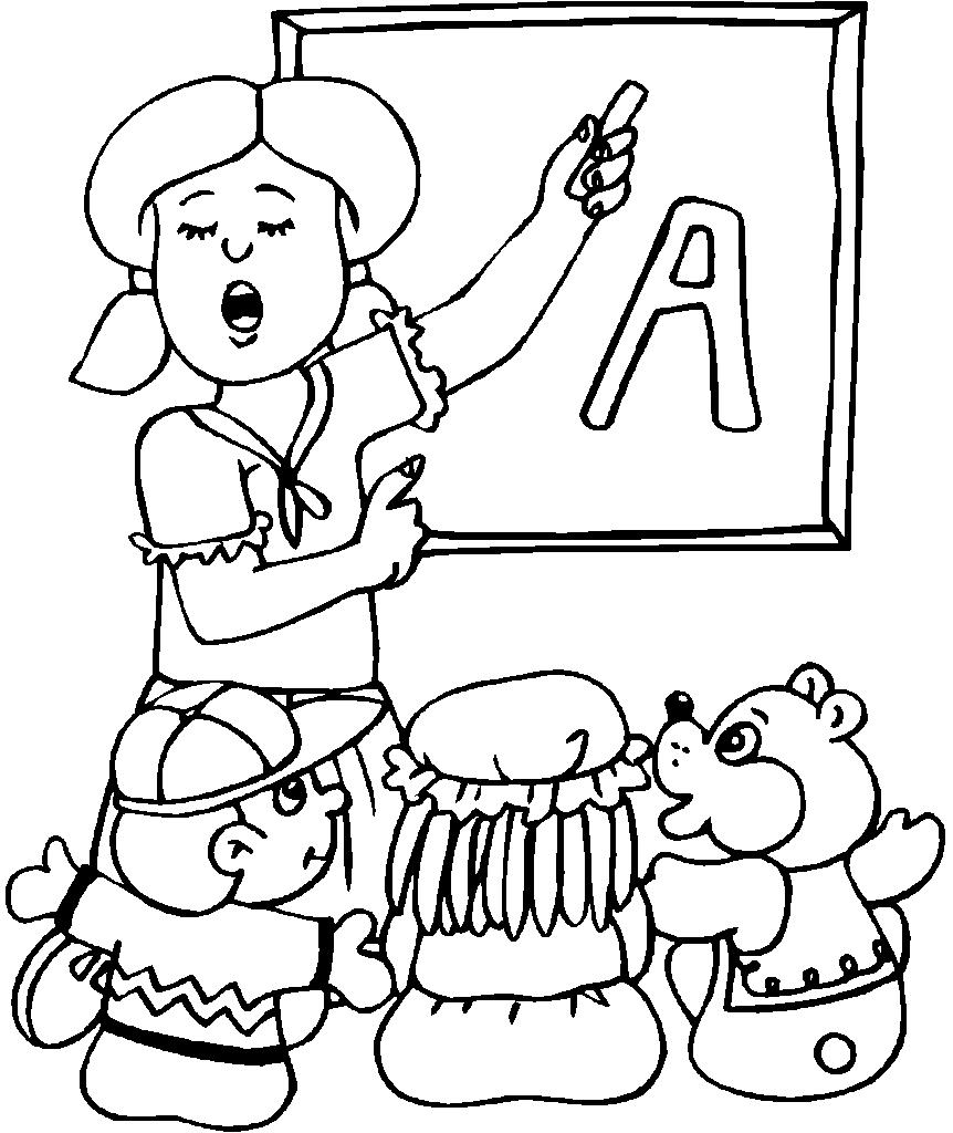 Kindergarten Teacher Coloring Page