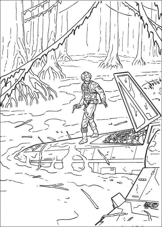 Luke Skywalker In Dagobah coloring page