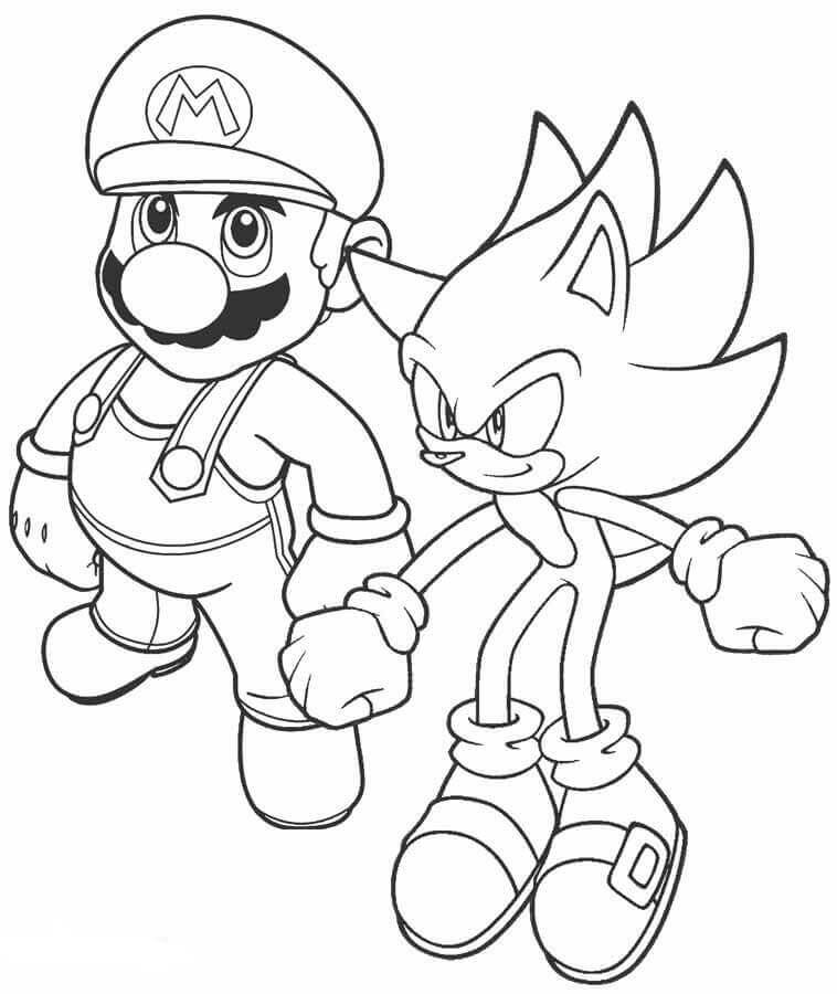 Mario And Sonic Coloring Page