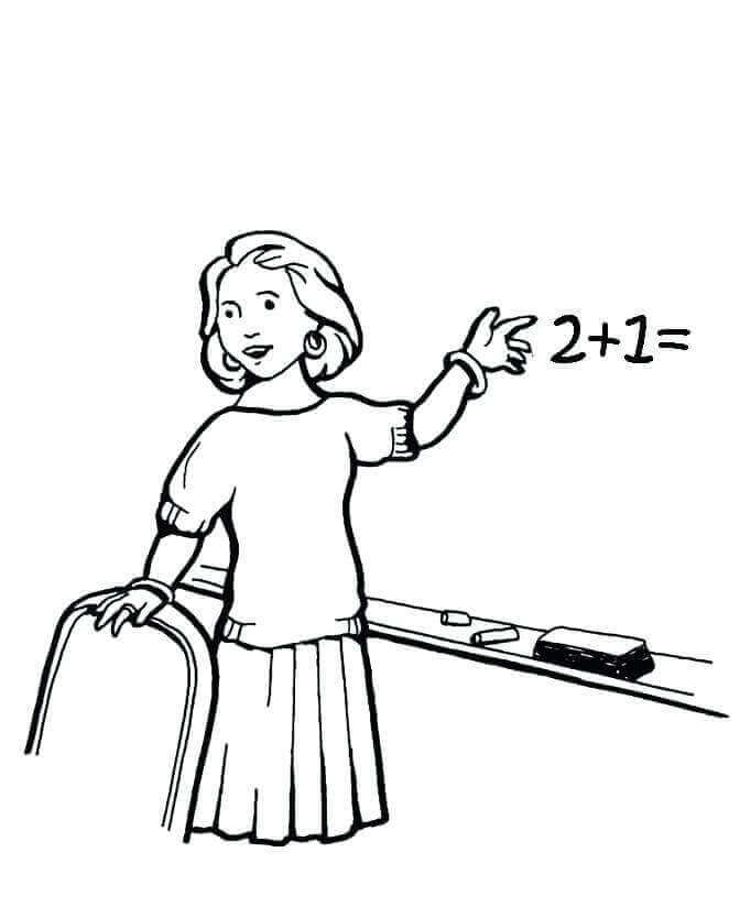 Math Teacher Coloring Page