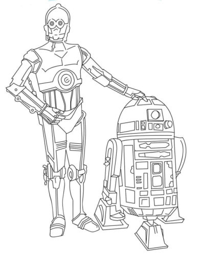 R2D2 And C3PO coloring page