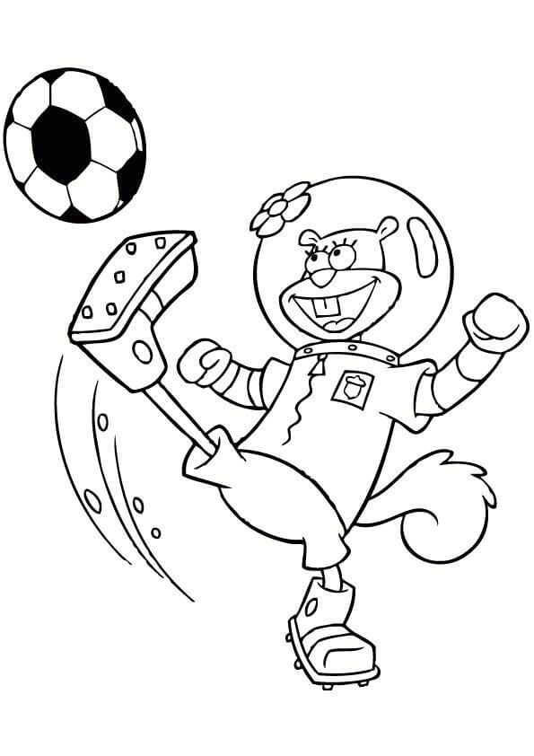 Sandy Cheeks Playing Football coloring page