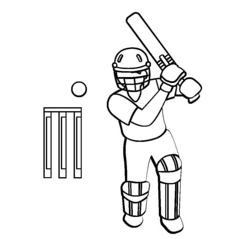 Simple Cricket Coloring Page For Kids