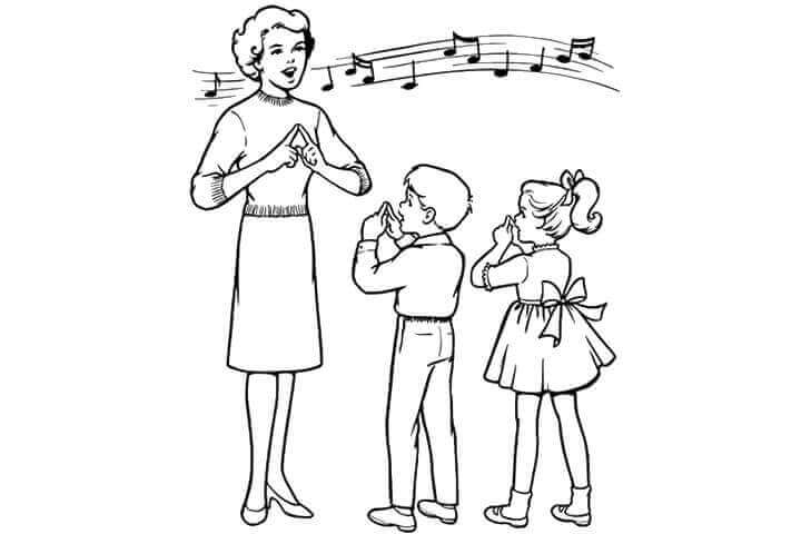 Singing Teacher Coloring Page