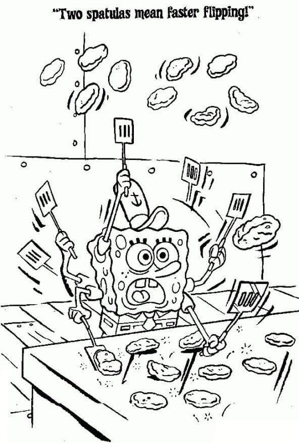 SpongeBob Making Patties coloring sheet