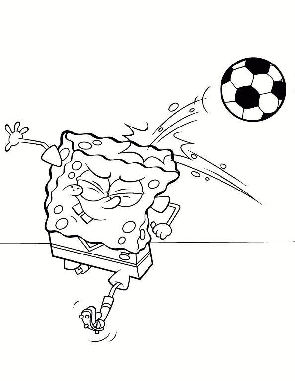 Spongebob Playing Football coloring sheet