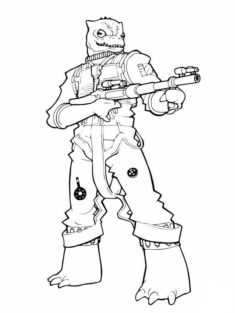 Star Wars series Bossk coloring page