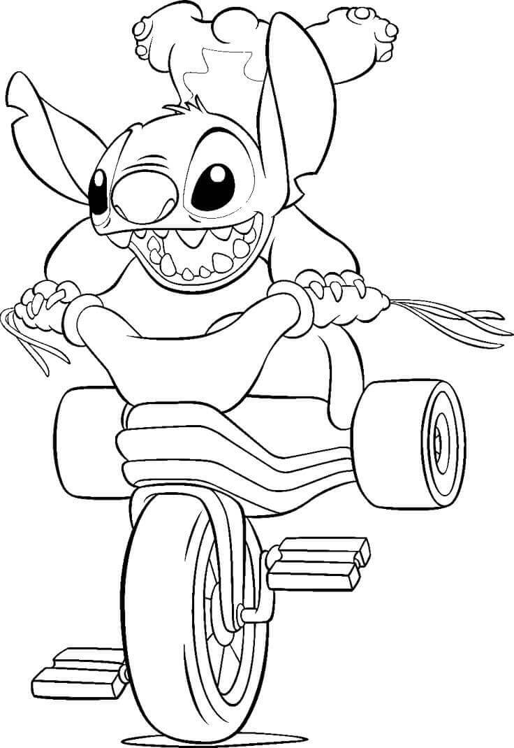 Stitch Doing Stunt Coloring Page