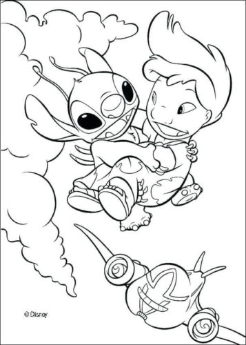Stitch Rescuing Lilo Coloring Page