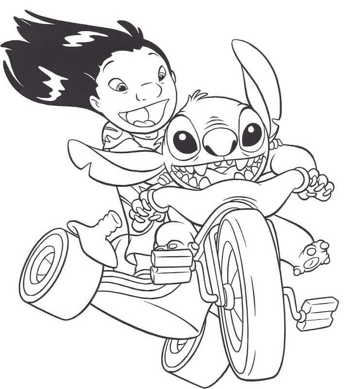 Stitch Riding Motorcycle Coloring Page