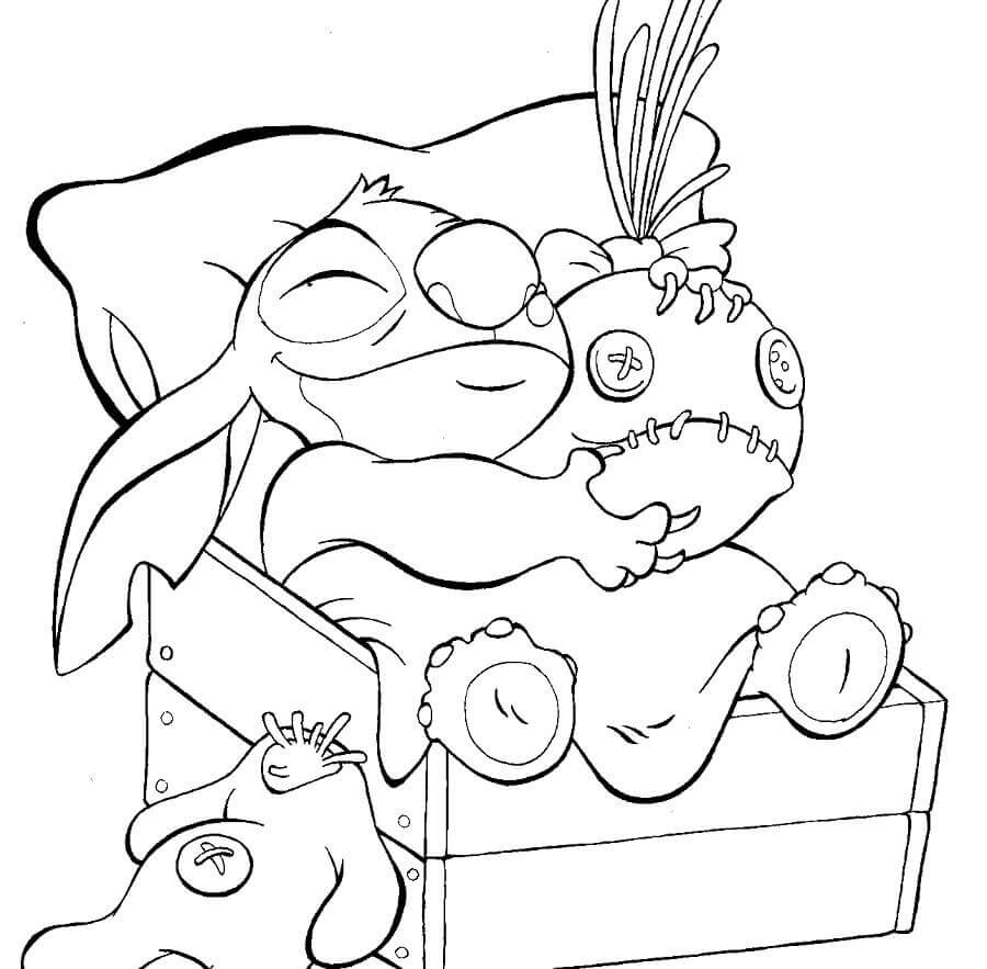 Stitch Sleeping Coloring Page