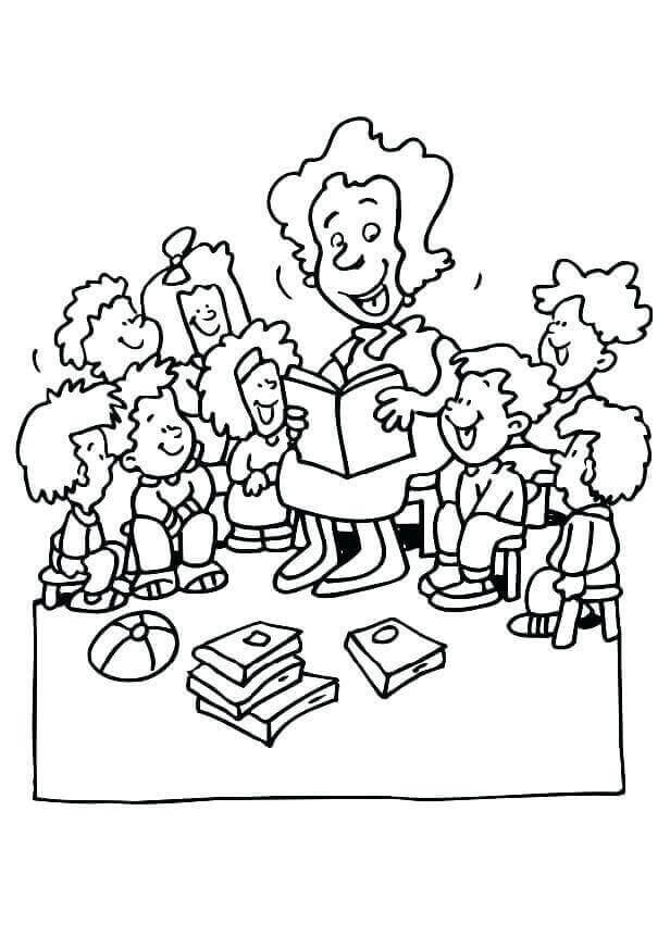 Teacher With Students Coloring Page
