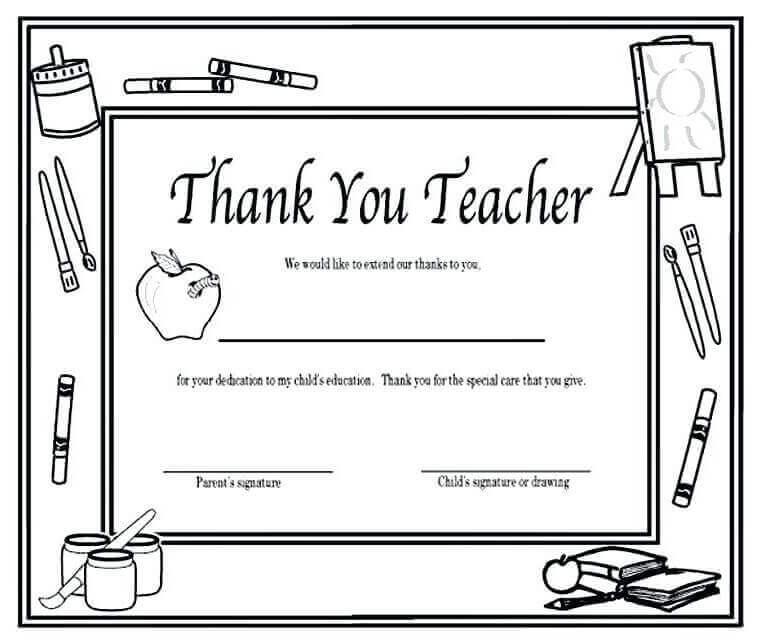 Thank You Teacher Coloring Sheet