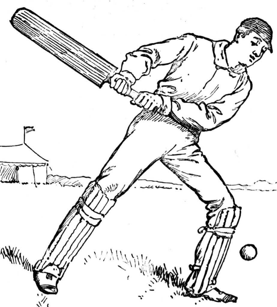 Vintage Cricket Coloring Page
