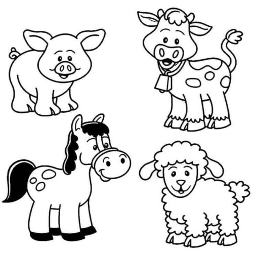 Baby Farm Animal Coloring Pages Tag: 34 Farm Animal Coloring Book ... | 500x500