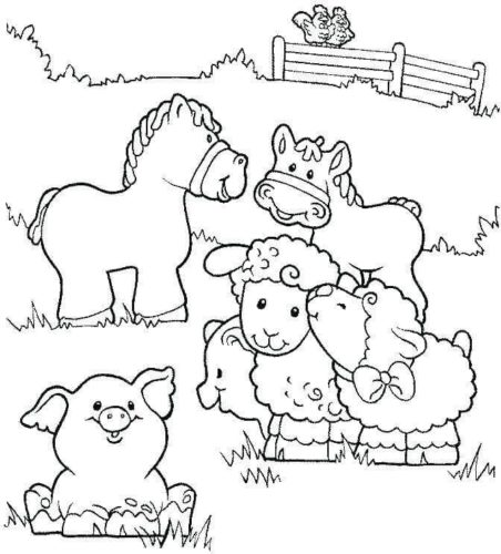Cute Farm Animals coloring page