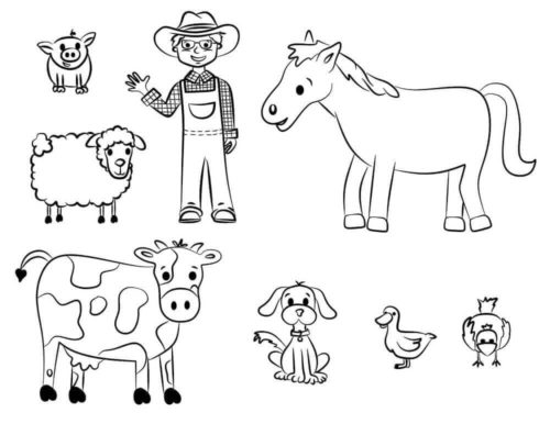 Farmer With Farm Animals coloring page