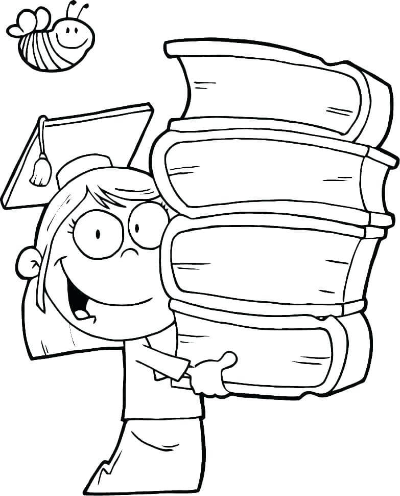 Graduate Child with Books coloring page