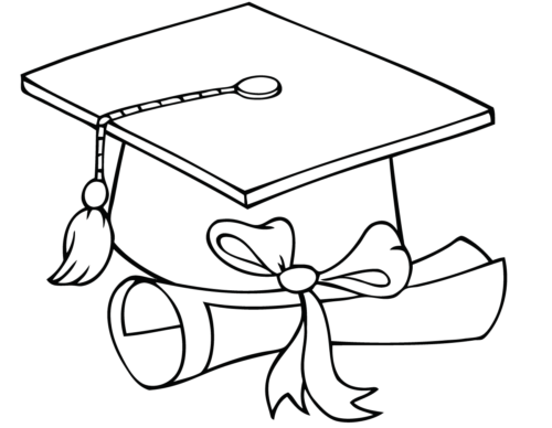 Graduation Hat And Diploma coloring page