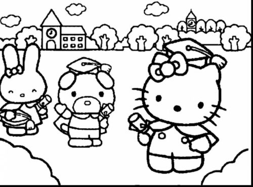 Hello Kitty And Friends Have Graduated coloring page