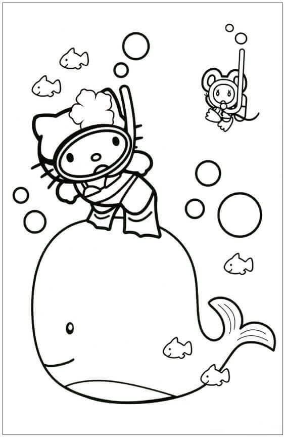 Hello Kitty With Whale colouring page