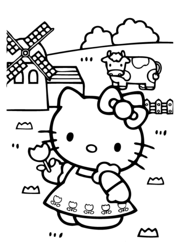 Hello Kitty in her farm coloring page