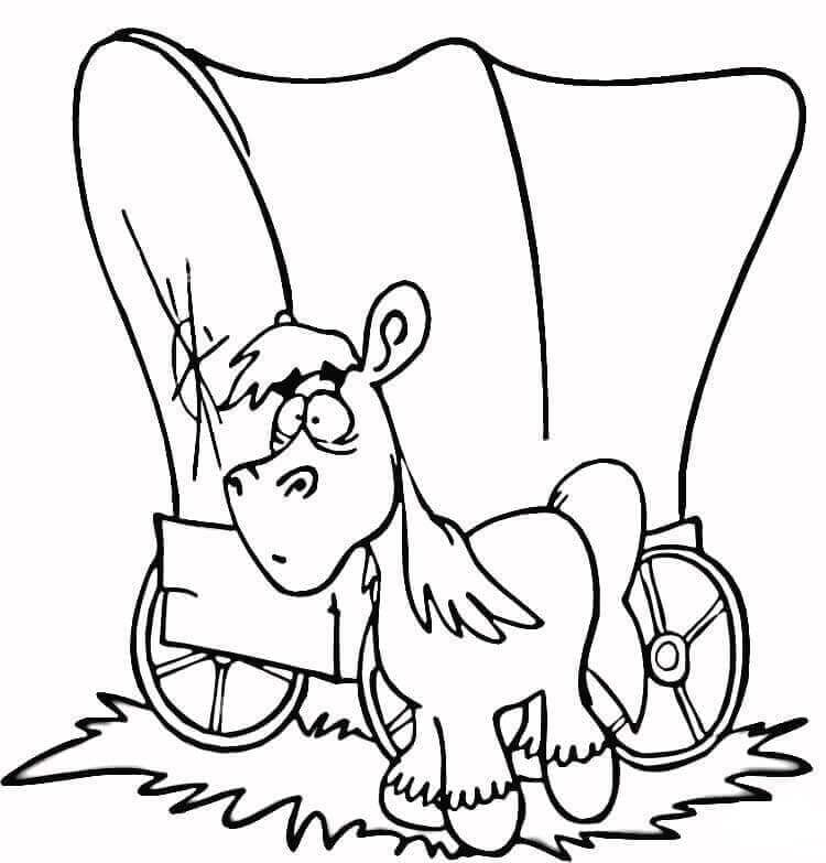 Horse Wagon Coloring Page