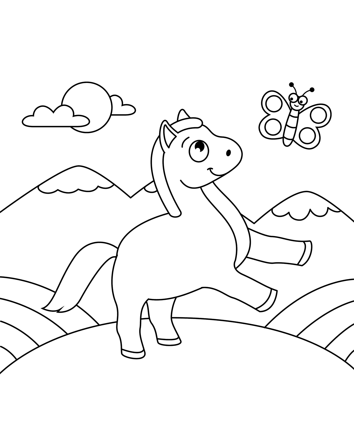 Horse With Butterfly Coloring Page