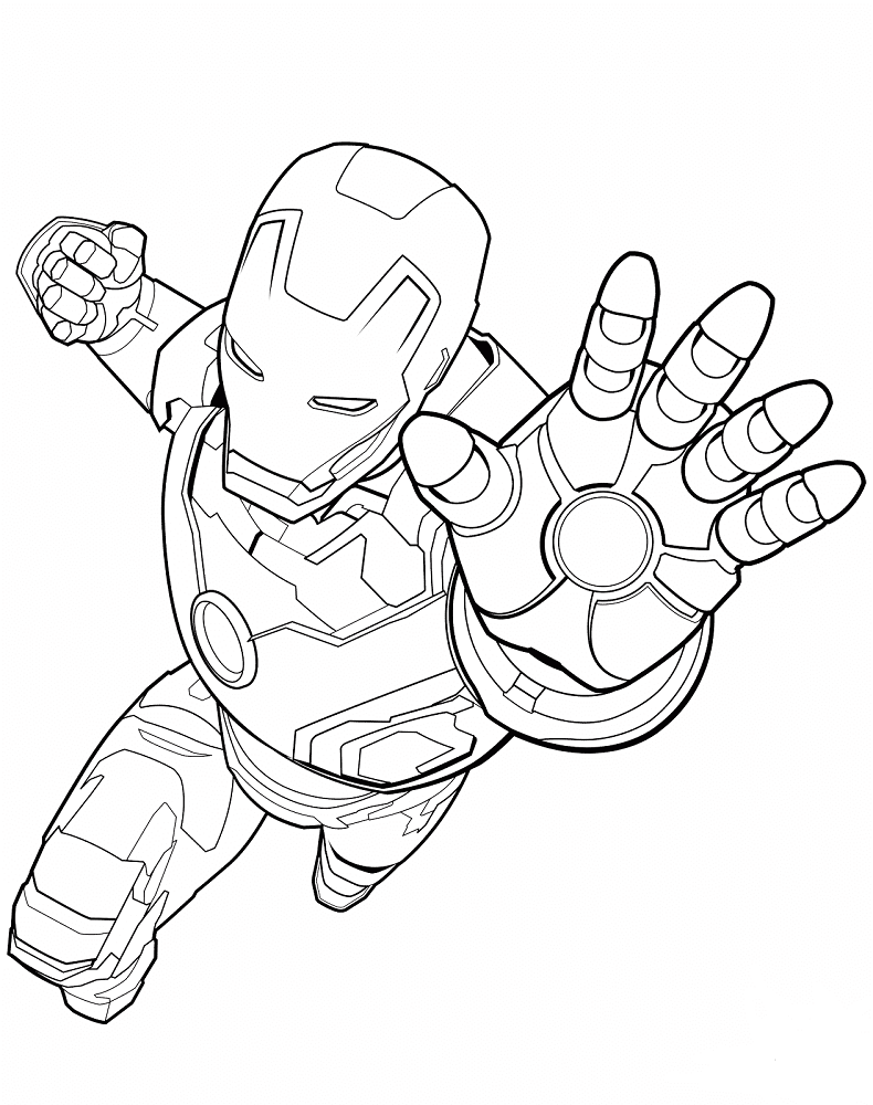 Iron Man About To Attack coloring page
