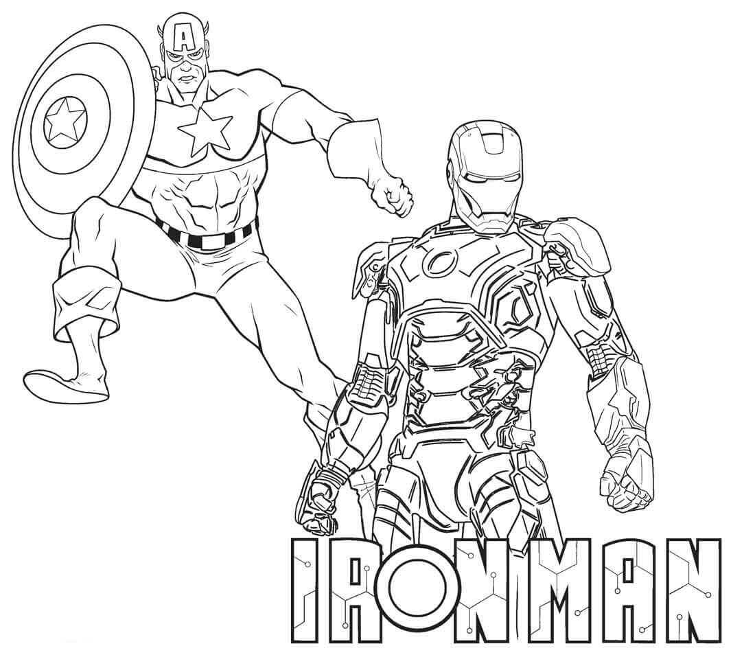 Iron Man and Captain America coloring page