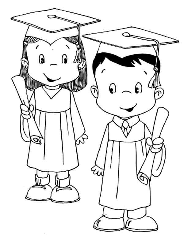 Kids Graduation Coloring Page
