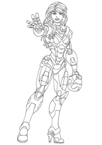 Pepper Potts as Iron Man coloring page