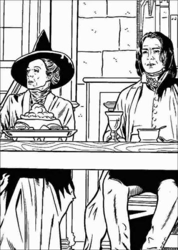 Professor Minerva Mcgonagall and Severus Snape coloring page