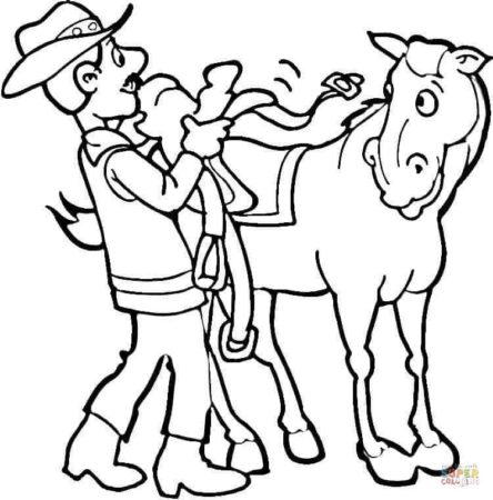 Putting On A Saddle coloring page