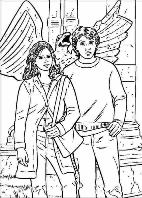 Ron and Hermoine coloring page