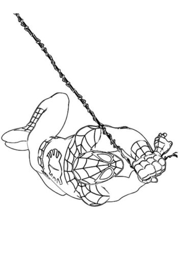 Spider Man Flying Coloring Page