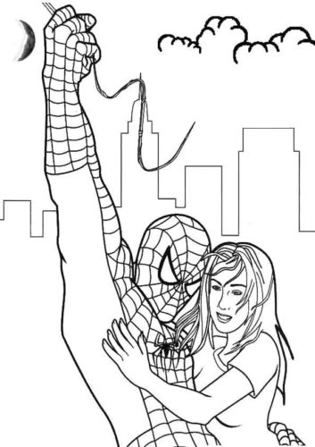 Spider Man Rescuing A Girl Coloring Page